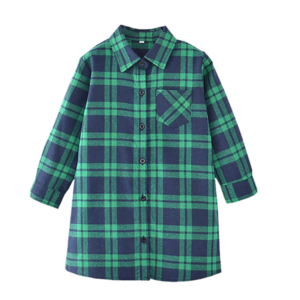 Girl's Long Sleeve Flannel long Shirt