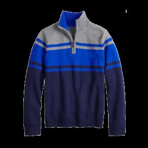 Boy's Color Block Quarter Zip Sweater