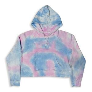 Ladies Fleece Hoodie with Tie Dye wash effect